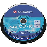 Verbatim CD-R Datalife Non-AZO 52x 700MB (Pack of 10)