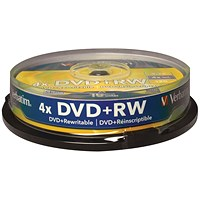 Verbatim DVD+RW Non-Printable 4x 4.7GB (Pack of 10) 43488