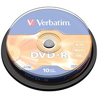 Verbatim DVD-R 16x Branded Silver Spindle of 10 Discs -