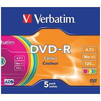 Verbatim DVD-R Non-Printable Jewel Case 16x 4.7GB (Pack of 5) 43557