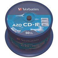 Verbatim CD-R AZO Crystal Spindle 700MB (Pack of 50)