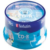 Verbatim CD-R Crystal 700MB Slim Case (Pack of 25) 43322