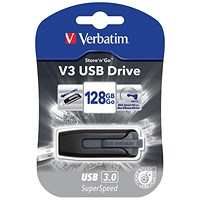 Verbatim V3 USB 3.0 Drive, 128GB, Black & Grey