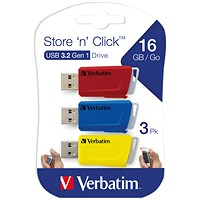 Verbatim Store and Click USB 3.2 16GB (Pack of 3)