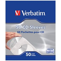 Verbatim CD/DVD Sleeves Paper (Pack of 50) 49992