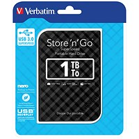 Verbatim Portable Hard Drive, 1TB, Black