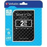 Verbatim Portable Hard Drive, 2TB, Black