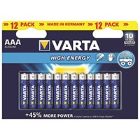 Varta AAA High Energy Battery Alkaline (Pack of 12)