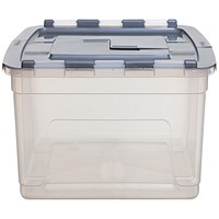 Whitefurze Tote Box 45 Litre Clear with Silver Lid