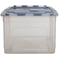 Whitefurze Tote Box 55 Litre Clear with Silver Lid