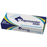 Wrapmaster 1000 Foil Refill, Pack of 3, 30cm x 30m