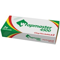 Wrapmaster 4500 Cling Film Refill, Pack of 3, 45cm x 300m