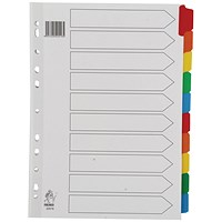 Everyday A4 White 10-Part Index Dividers - Multi-Colour Tabs