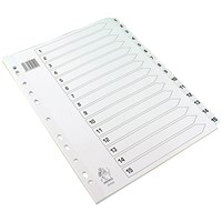 Everyday A4 White 1-15 Index - Mylar Reinforced Tabs