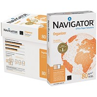 Navigator Organizer A4 Paper / 80gsm / Punched 2 Holes / Box (5 x 500 sheets)