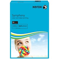 Xerox Symphony Tints Paper - Deep Blue, A4, 80gsm, Ream (500 Sheets)