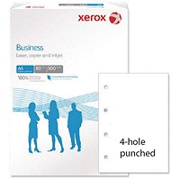 Xerox Business A4 Paper 4-Hole Punched, White, 80gsm, Ream (500 Sheets)