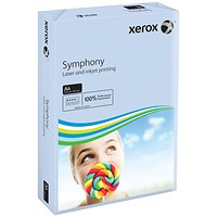 Xerox Symphony Tints Card - Pastel Blue, A4, 160gsm, Ream (250 Sheets)