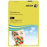 Xerox Symphony Tints Paper - Deep Yellow, A4, 80gsm, Ream (500 Sheets)