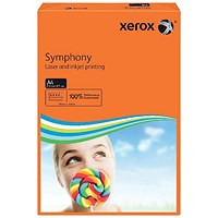 Xerox Symphony Deep Tints Paper, Deep Orange, A4, 80gsm, Ream (500 Sheets)