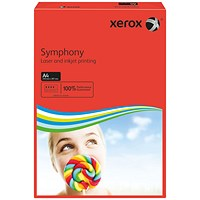 Xerox Symphony Tints Paper - Deep Red, A4, 80gsm, Ream (500 Sheets)