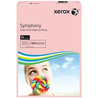 Xerox Symphony Pastel Tints Paper, Pink, A4, 80gsm, Ream (500 Sheets)