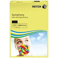 Xerox Symphony Pastel Tints Paper, Yellow, A4, 80gsm, Ream (500 Sheets)
