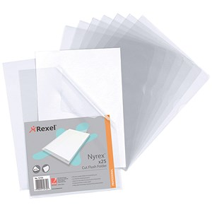 Image of Rexel Nyrex Cut Flush Folders / A4 / Clear / Pack of 25