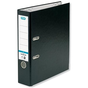 Image of Elba Foolscap Lever Arch Files / PVC / Slotted Covers / Black / Pack of 10