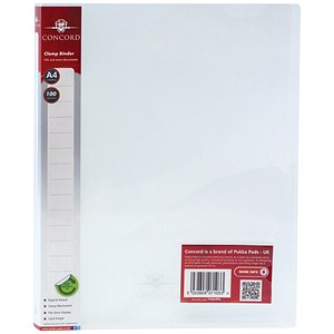 Image of Concord A4 Clamp Binders / Clear / Pack of 10