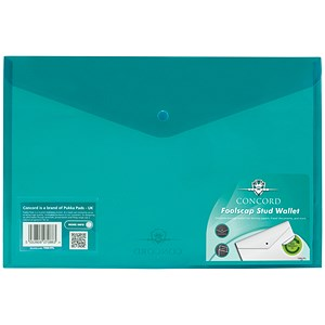Image of Concord Stud Wallet Files / Vibrant Polypropylene / Foolscap / Green / Pack of 5