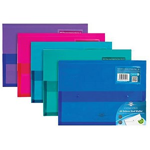 Image of Concord Stud Wallet Files with Gusset / Vibrant Polyplus / A4 / Assorted / Pack of 5