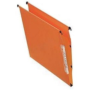 Image of Bantex Linking Kraft Lateral Files / 220gsm / Square Base / 50mm Capacity / 330mm Width / Orange / Pack of 25