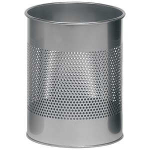 Image of Durable Round Bin / Metal / 165mm Perforated / 15 Litres / Metallic Silver