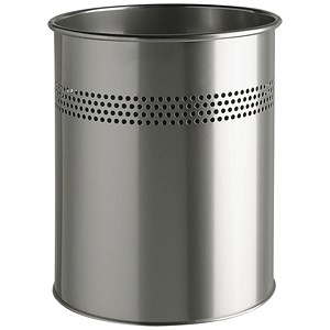 Image of Durable Round Bin / Metal / Perforated / 15 Litres / Metallic Silver