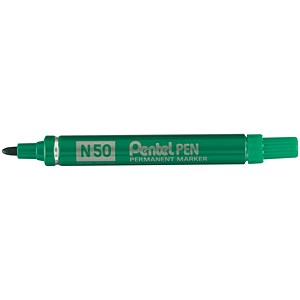 Image of Pentel N50 Permanent Marker / Bullet Tip / Green / Pack of 12