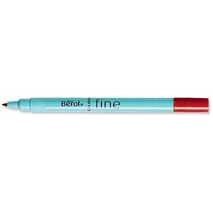 Image of Berol Colour Fine Pen / Washable Ink / Red / Wallet of 12