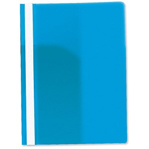 Image of Rexel Data Flat Files with Title Strip and Full Back Pocket / PVC / A4 / Blue / Pack of 25