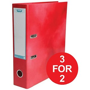 Image of Elba Lever Arch Files / Laminated Gloss Finish / 70mm Capacity / A4 / Red - 3 for the Price of 2