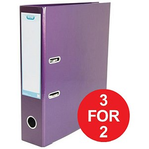 Image of Elba Lever Arch Files / Laminated Gloss Finish / A4 / Metallic Purple - 3 for the Price of 2