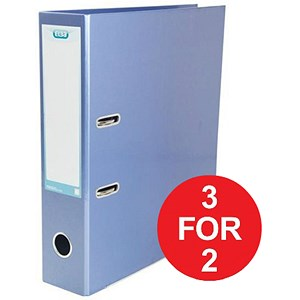 Image of Elba Lever Arch Files / Laminated Gloss Finish / A4 / Metallic Blue - 3 for the Price of 2