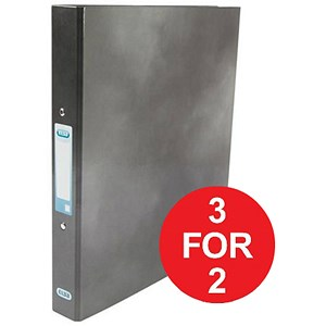 Image of Elba Ring Binder / Laminated Gloss Finish / 2 O-Ring / 25mm Capacity / A4 / Black - 3 for the Price of 2