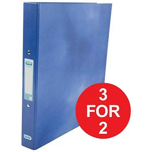 Image of Elba Ring Binder / Laminated Gloss Finish / 2 O-Ring / 25mm Capacity / A4 / Blue - 3 for the Price of 2