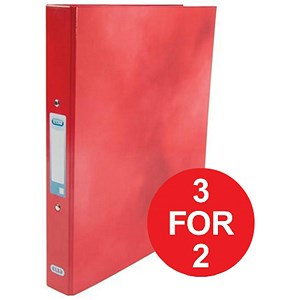 Image of Elba Ring Binder / Laminated Gloss Finish / 2 O-Ring / 25mm Capacity / A4 / Red - 3 for the Price of 2