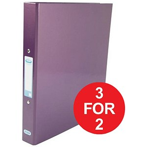 Image of Elba Ring Binder / Laminated Gloss Finish / 2 O-Ring / 25mm Capacity / A4 / Metallic Purple - 3 for the Price of 2