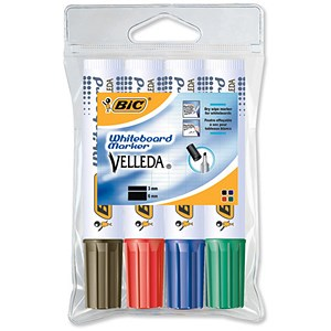 Image of Bic 1781 Whiteboard Marker / Chisel Tip / Assorted Colours / Pack of 4