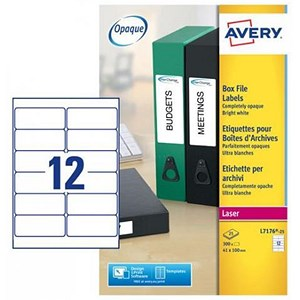 Image of Avery Laser and Inkjet Filing Labels for 60mm Box Files / 12 per Sheet / 41x100mm / L7176-25 / 300 Labels