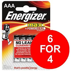 Image of Energizer Max AAA/E92 Batteries - 2 Free Batteries