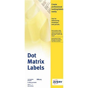 Image of Avery Dot Matrix Labels / One Wide on Web / 102x49mm / OML103 / 750 Labels