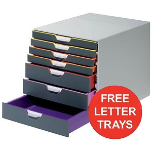 Image of Durable Varicolor Desktop Drawer Set Stackable 7 Drawers A4 - Offer includes FREE Letter Trays
